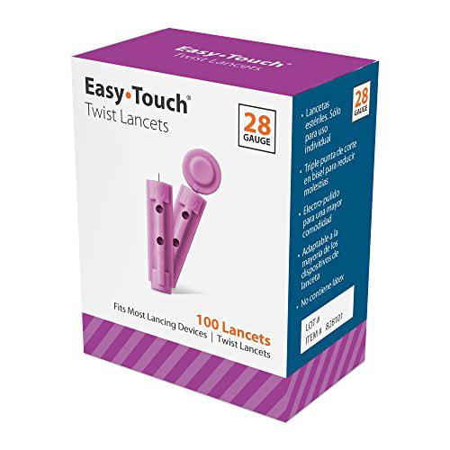 Easy Touch Twist Lancets 28 Gauge Size 100 Total per Box Each