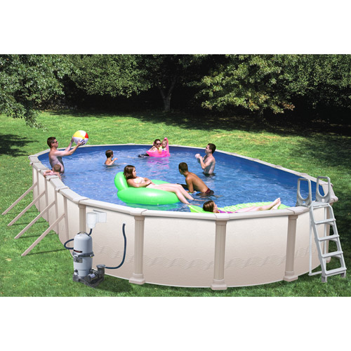 Heritage Oval 33' x 18' x 52'' Above Ground Swimming Pool with Vinyl-Coated Frame