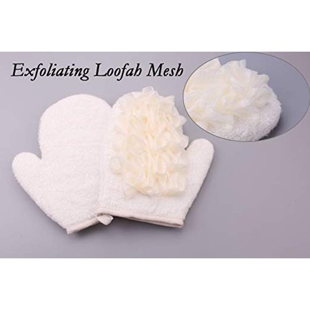 - Exfoliating Loofah Mesh Cleaning Body Glove with Double Sides