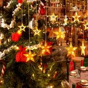 Luxtrada 96 LED Star Fairy String Curtain Window Light LED Starry Christmas String Lights for Christmas Wedding Party Decor (Warm Light)