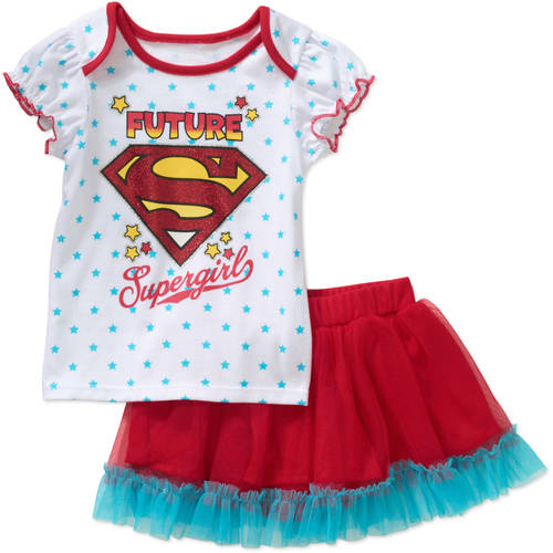 Superman Newborn Baby Girl Tee and Skirted Bloomer Outfit Set