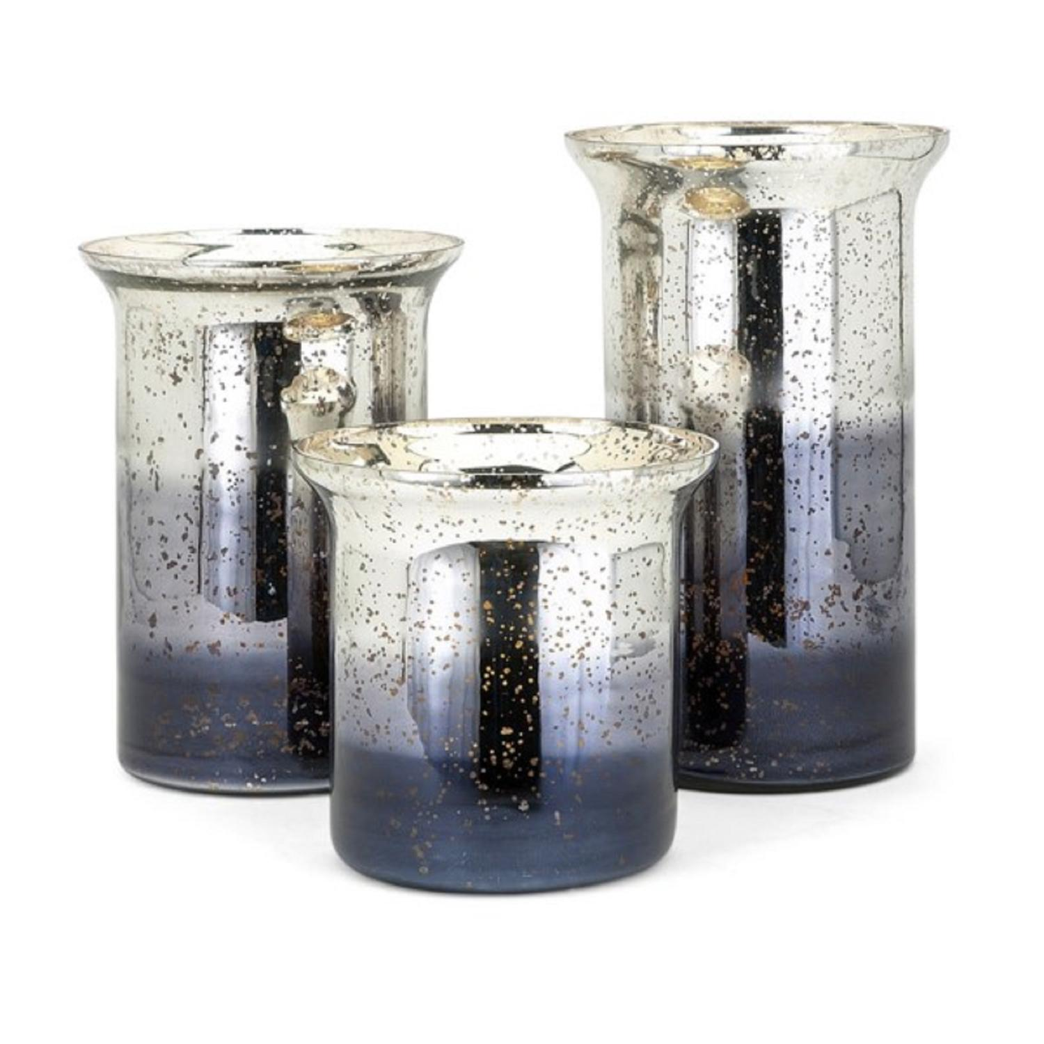 "12.25"" Gray and Silver Distressed New Frontier Medium Ombre Hurricane Candle Holder"