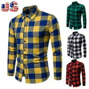 New Mens Long Sleeve Shirt Button Up Business Work Plaid Formal Plain Dress Top