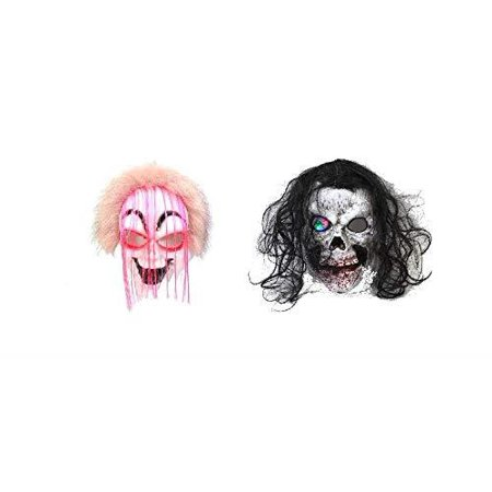 Elegantoss Pack of 2 Halloween Party Decoration Creepy Funny Clown Mask and Scary Skull Mask with Light-Up Eyes Prop for Horror Halloween Costume Cosplay (Pink Hair, Black Hair) ()