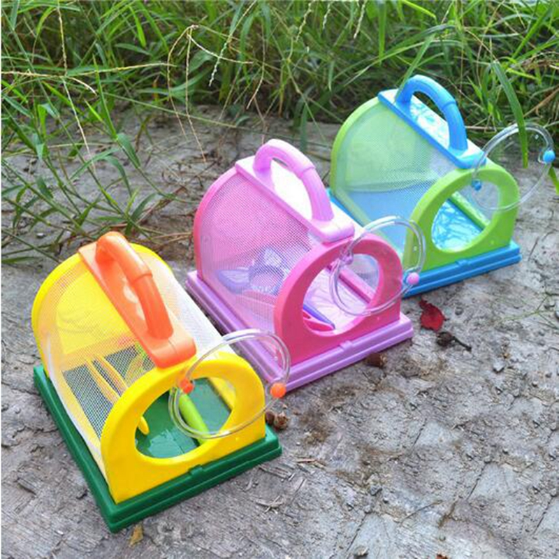 Redcolourful Kids Children Bug Insect Feeding House Cage with Magnifier & Tweezer Kit Toy by