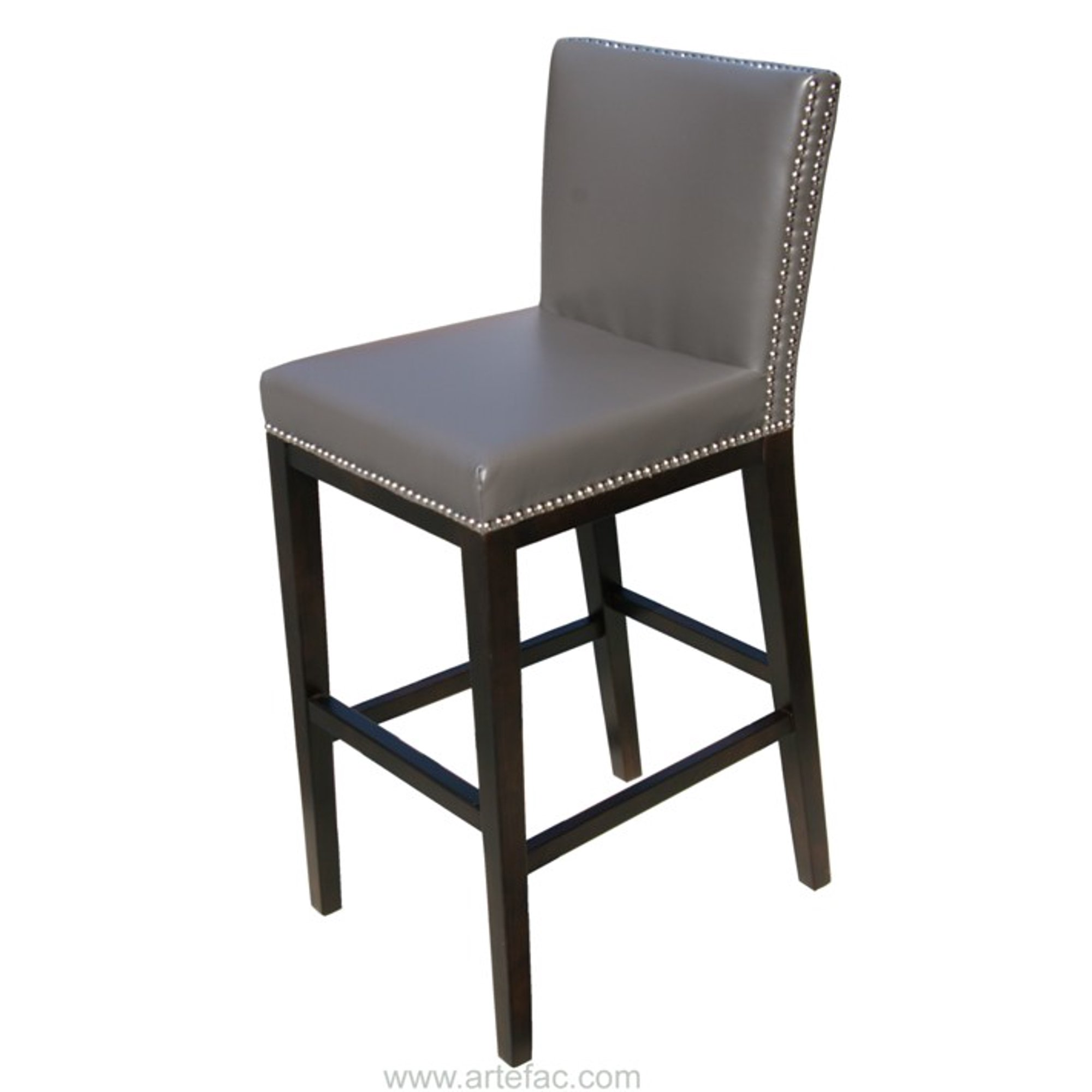 Superb Artefac Pembley Leather Stool With Nailhead Trim Gray Onthecornerstone Fun Painted Chair Ideas Images Onthecornerstoneorg