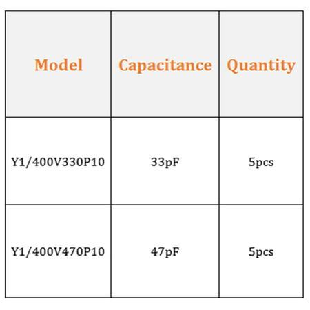 Ceramic Safety Capacitor Assortment Kit DIP Y1 400V 2 Value - 33pF 47pF 10Pcs - image 3 of 4