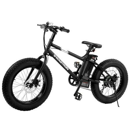 "Swagtron EB Bandit Youth Fat E-Bike w/ 350W Motor, Power Assist, 4"" Tires, 20"" Wheels, Removable Battery, Dual Disc Brakes – Electric Bike w/ 7-Speed Shimano SIS Shifting Built for Trail Riding (Halloween Bike Ride London)"