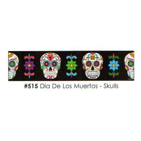 Dia De Los Muertos - Skulls 3 Strips Edible Frosting Photo Cake Border Decoration - Dia De Los Muertos Decorations