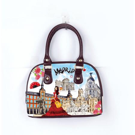 3c11c7ec6f OH Fashion Women Handbag Shoulder Bag Discovering Madrid PU Leather Handbag  Shoulder Bag Tote Purse Clutch