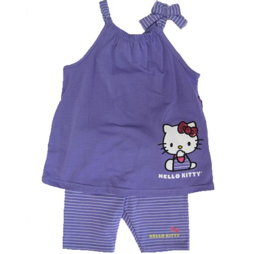 Hello Kitty Little Girls Purple Bow Strap Sleeve 2 Pc Pants Set 4-6X