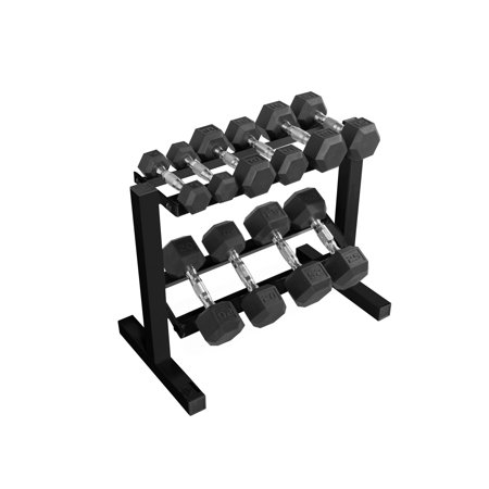 60ee63018e1 CAP 150 lb Rubber Hex Dumbbell Weight Set