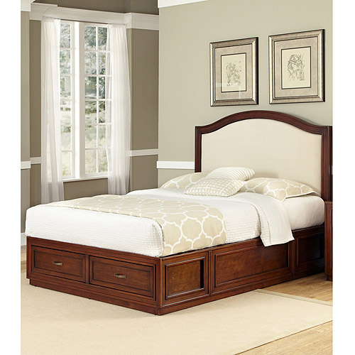 Home Styles Duet Platform Queen Bed with Camelback Oyster Microfiber Inset, Rustic Cherry