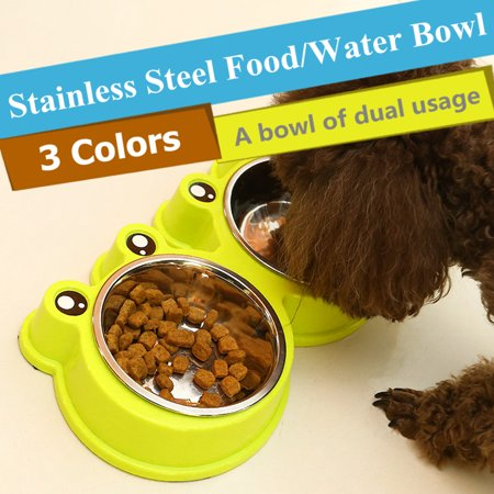 Stainless Steel Pet Dog Cat Food Water Double Bowl Non Slip Feed Dishing Feeder(Color: Blue, Yellow, Pink) (Stainless Steel Non Spill Dish)