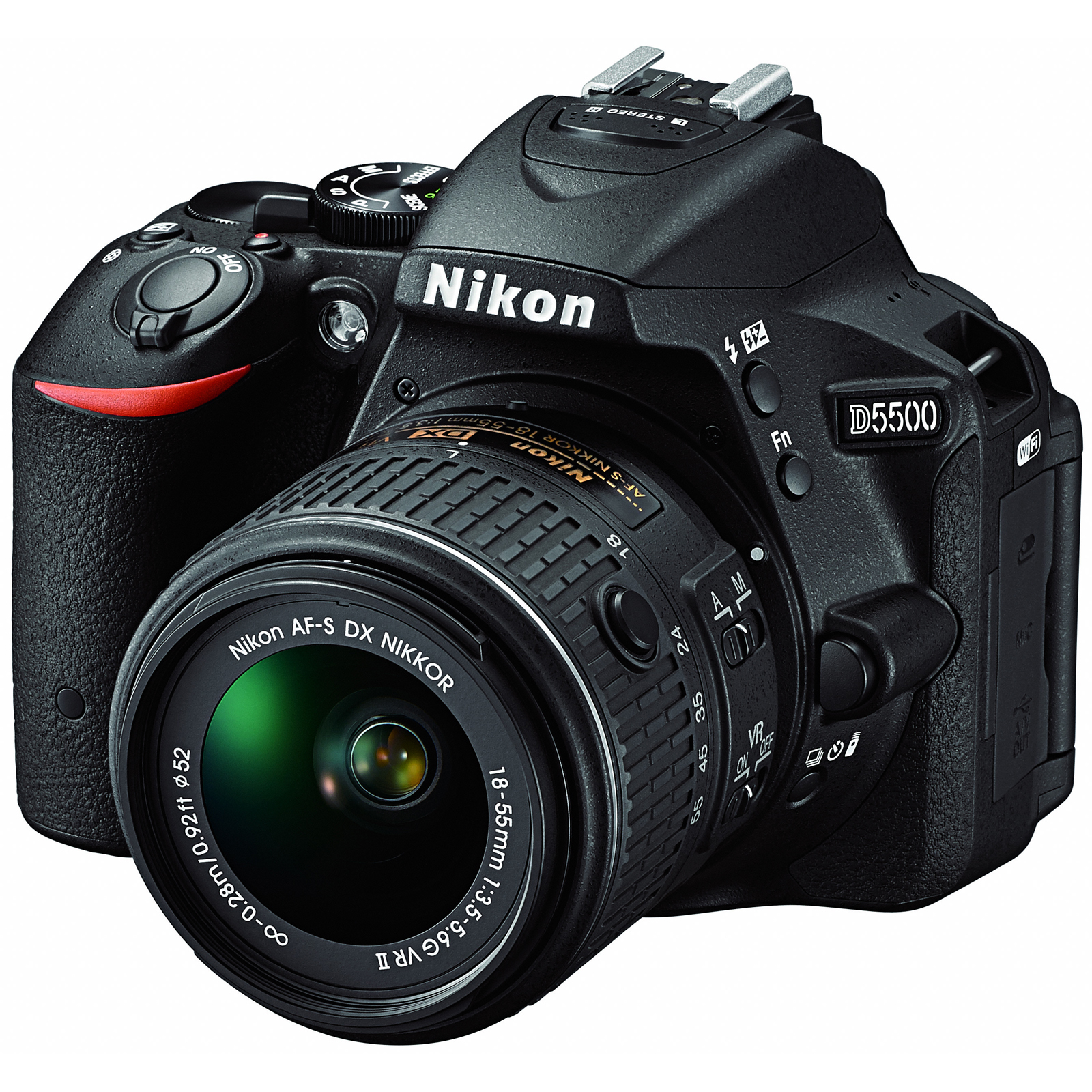 Nikon D5500 Wi-Fi Digital SLR Camera & 18-55mm VR DX II Lens (Black) - Factory Refurbished includes Full 1 Year Warranty
