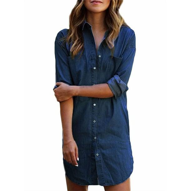 Women's Long Sleeve Button Down Denim Shirt Dresses Above Knee