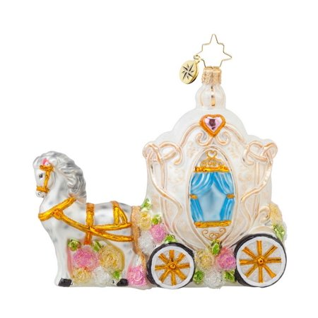 Christopher Radko Glass Wedding Time Horse and Carriage Christmas Ornament #1017629