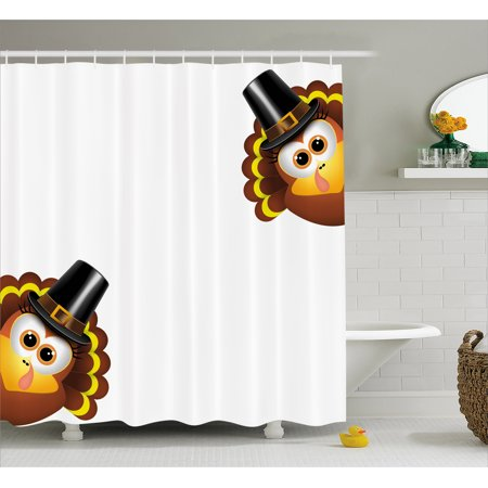 Sully Hat (Turkey Shower Curtain, Silly Turkey Cartoon Animal Characters with Pilgrims Hat Autumn Feast Day, Fabric Bathroom Set with Hooks, 69W X 75L Inches Long, Brown Black Yellow, by)