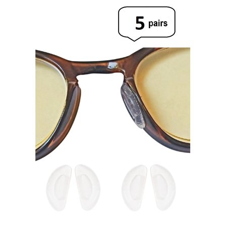 AM Landen 5 Pairs 1mm Clear Ergonomic Design Anti Skid D-Shape Stick-on Eyeglass Nose (Eyeglasses Fit Face Shape)