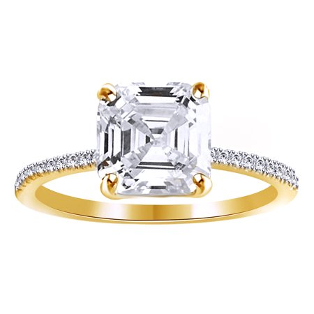 Asscher Cut White Cubic Zirconia Promise Ring In 14k Yellow Gold Over Sterling -