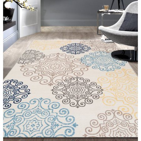 Cream Modern Floral Swirl Design Nonslip/Nonskid Area Rug or (Large Floral Cream)