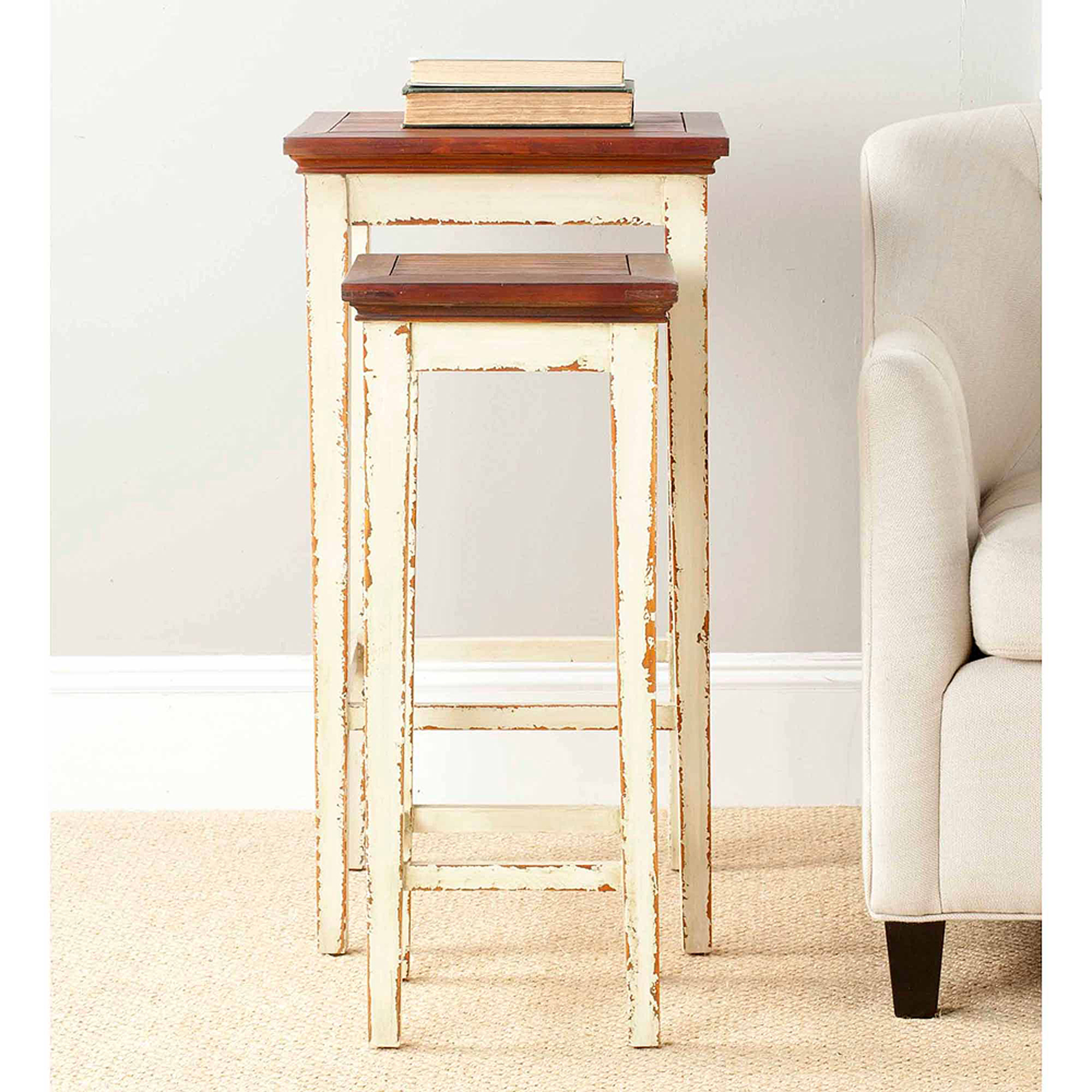 Safavieh Lynne Nesting Tables, White and Brown