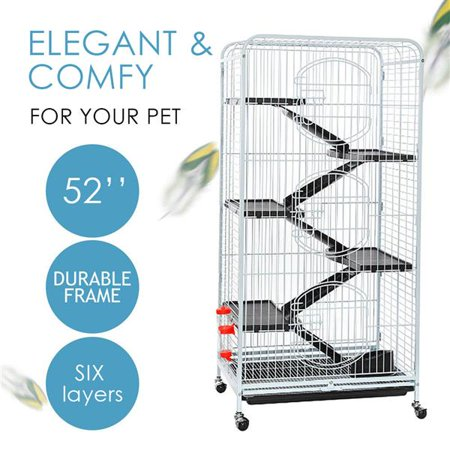"Topeakmart 52"" Height 6 Level Ferret Rabbit Small Animal Cage Hutch Indoor with 3 Front Doors & Wheels White"