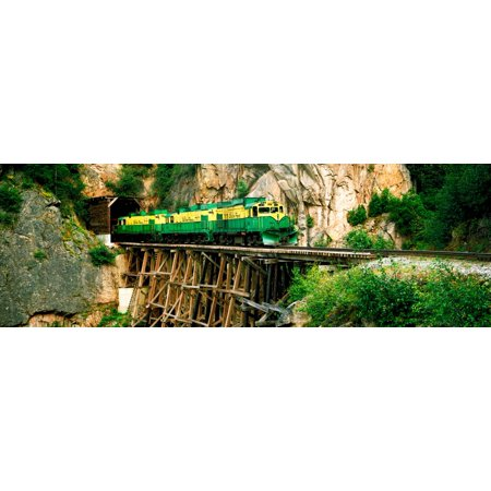Train on a bridge White Pass And Yukon Route Railroad Skagway Alaska USA Canvas Art - Panoramic Images (6 x