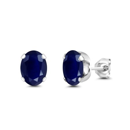 3.58 Ct Oval 8x6mm Blue Sapphire 925 Sterling Silver Stud Earrings