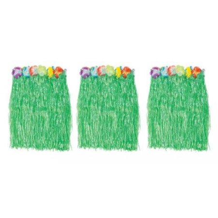 1 X Kid's Flowered Green Luau Hula Skirts (3 Pcs) w/Floral Waistbands - Kids Hula Skirt