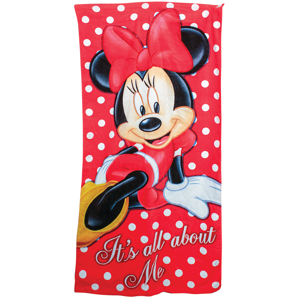 "Disney Minnie Mouse Beach Towel - Jumbo 58"" X 28"" Cotton Terry Pool Shower"