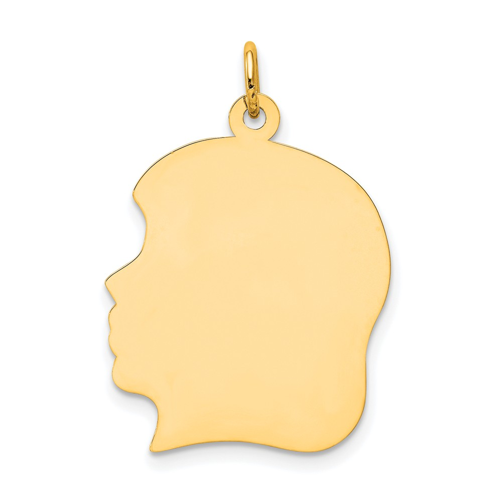 10k Yellow Gold Plain Large 0.018 Gauge Facing Left Engravable Girl Head Charm (1.1in long x 0.7in wide)