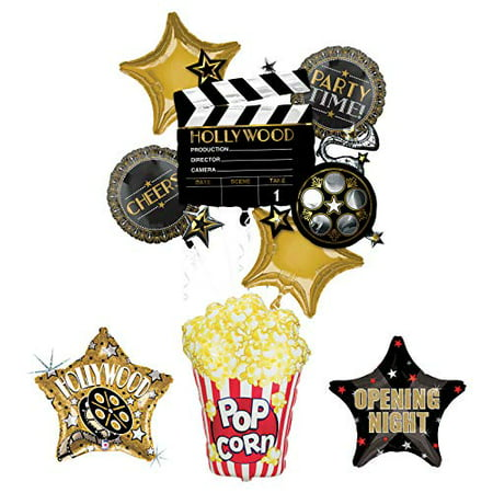 Movie Night Party Supplies Balloon Bouquet Decorations Hollywood Film Clapper and Popcorn - Balloons Hollywood