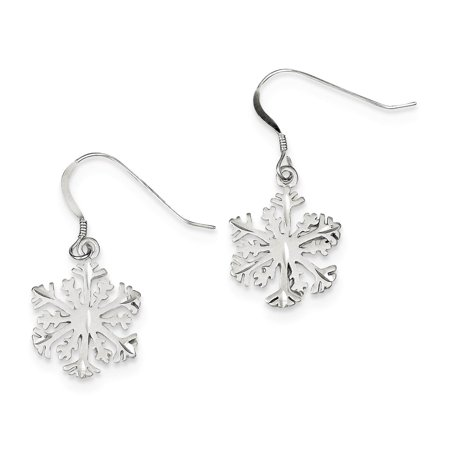 925 Sterling Silver Dangle Diamond Cut Satin Snowflake Earrings
