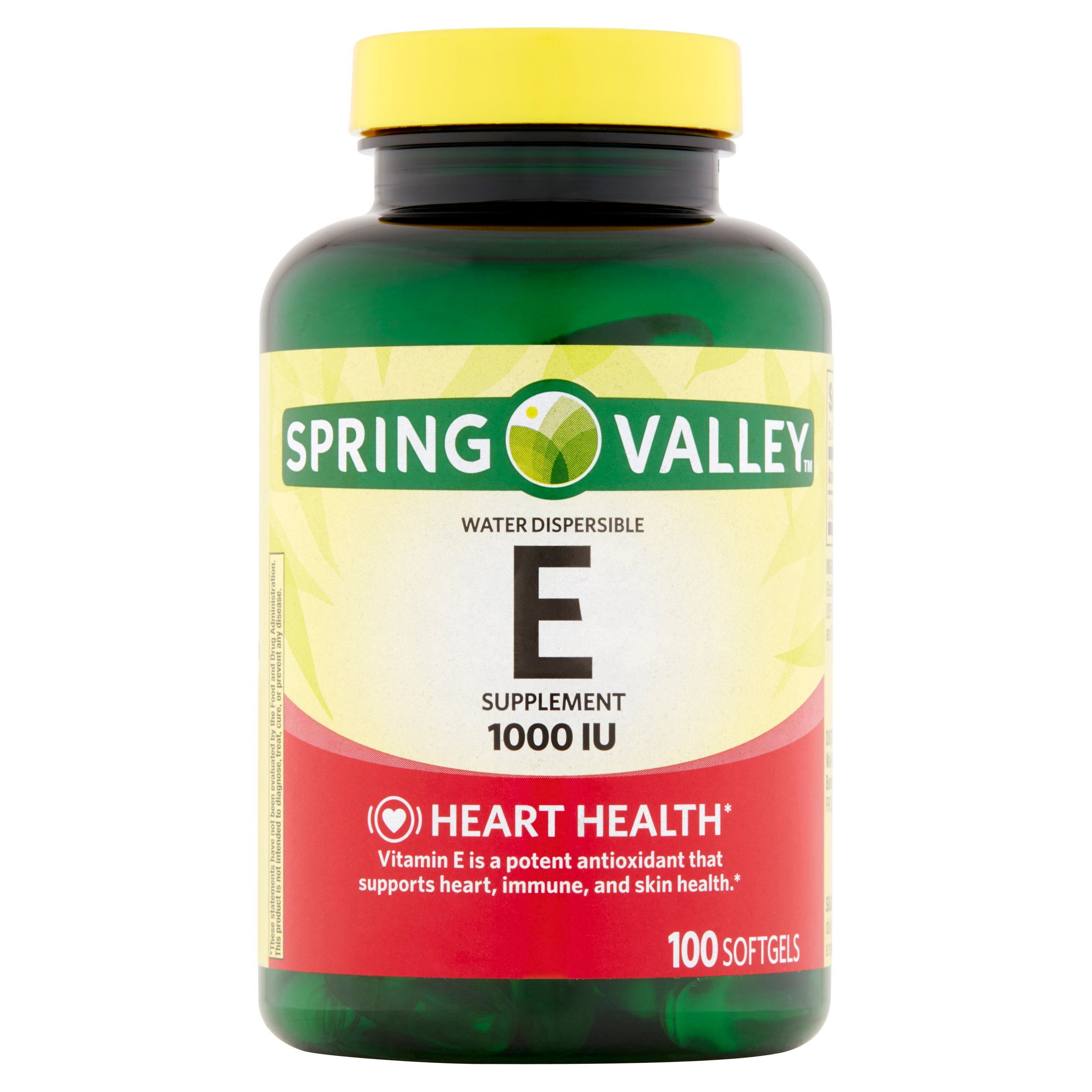 Spring Valley Water Dispersible E Supplement Softgels, 1000 IU, 100 count
