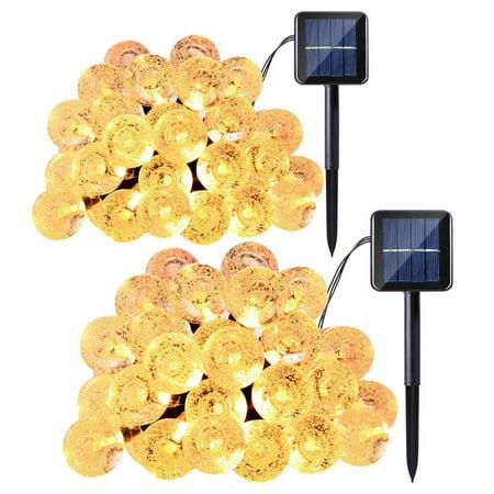 2Pack Qedertek Solar Christmas Lights 30 LED Crystal Ball Globe Fairy Lights for Christmas, Wedding, Xmas Tree, Party (Warm - Halloween Water Globes