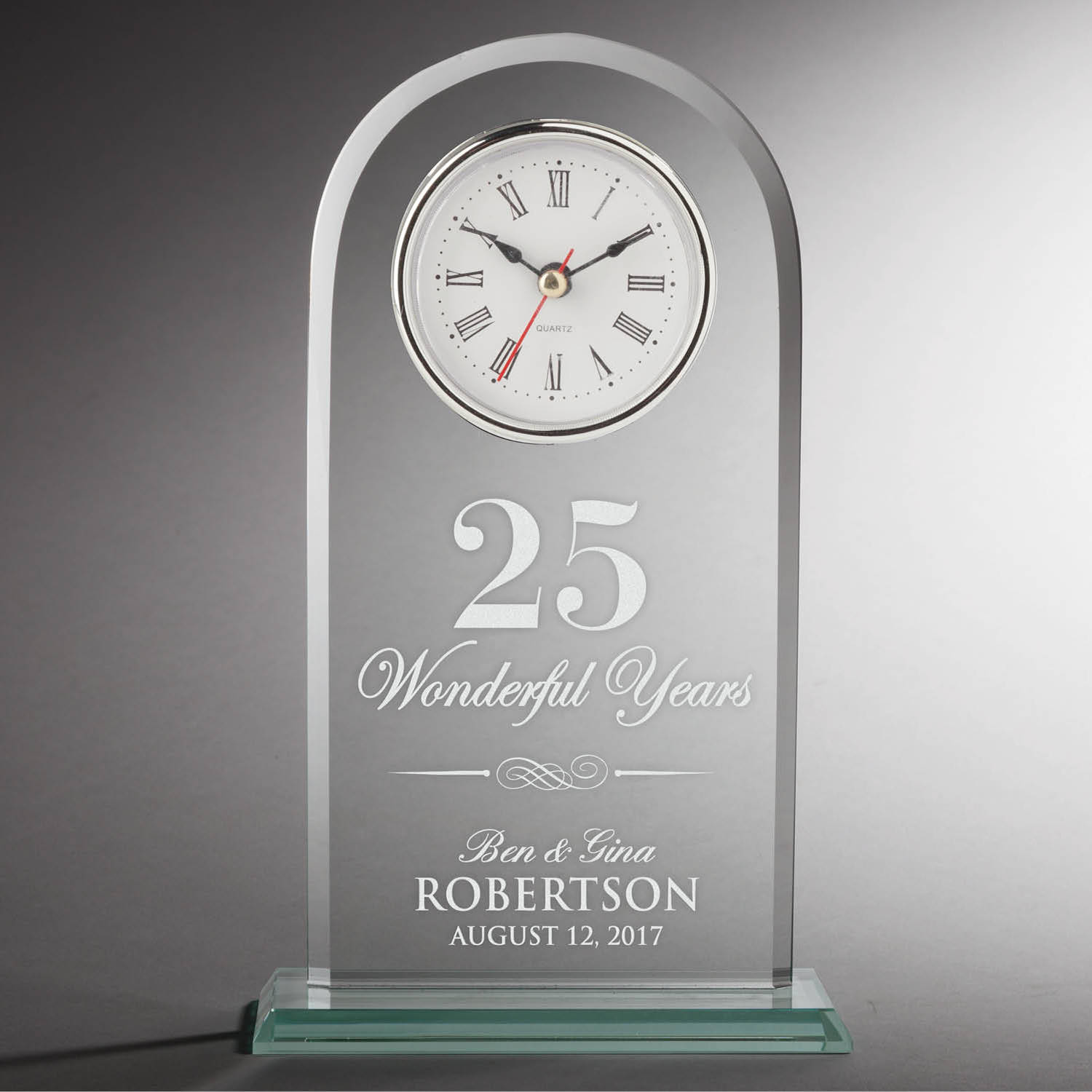Happy Anniversary Personalized Glass Clock