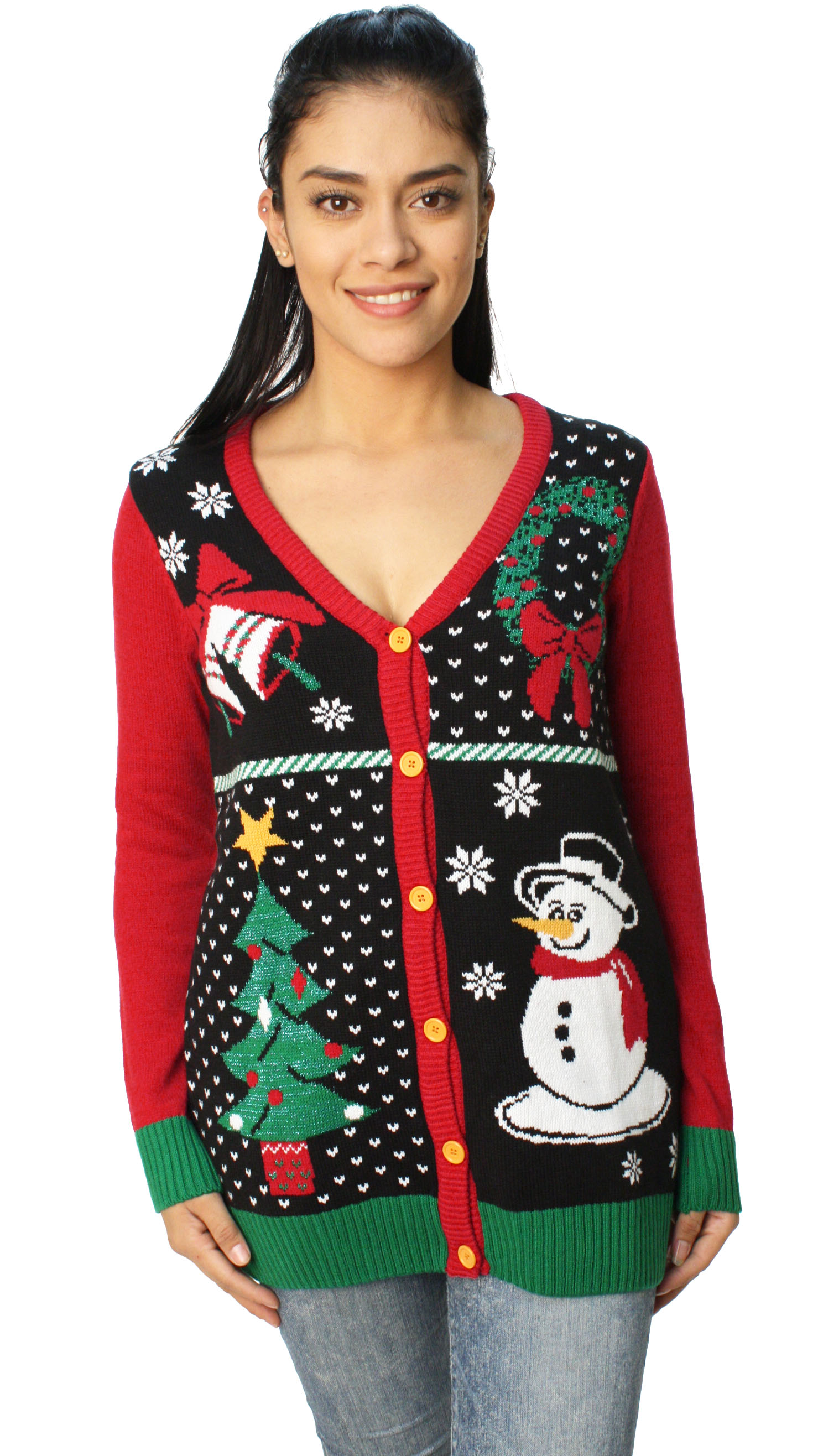 Ugly Christmas Sweater Women S Button Down Snowman Cardigan Sweater