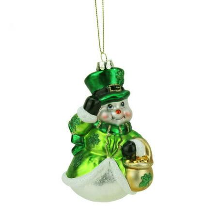 Northlight Seasonal Luck of the Irish Glittered Snowman Glass Christmas Ornament