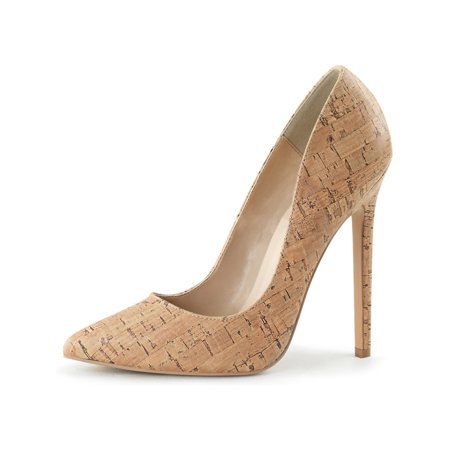 - Womens Pointed Toe Pumps Cork Shoes Classic High Heel Stilettos 5 Inch Heels