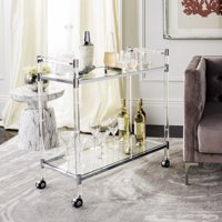 Safavieh Couture Duval 2-Tier Glam Acrylic Bar Trolley with Casters