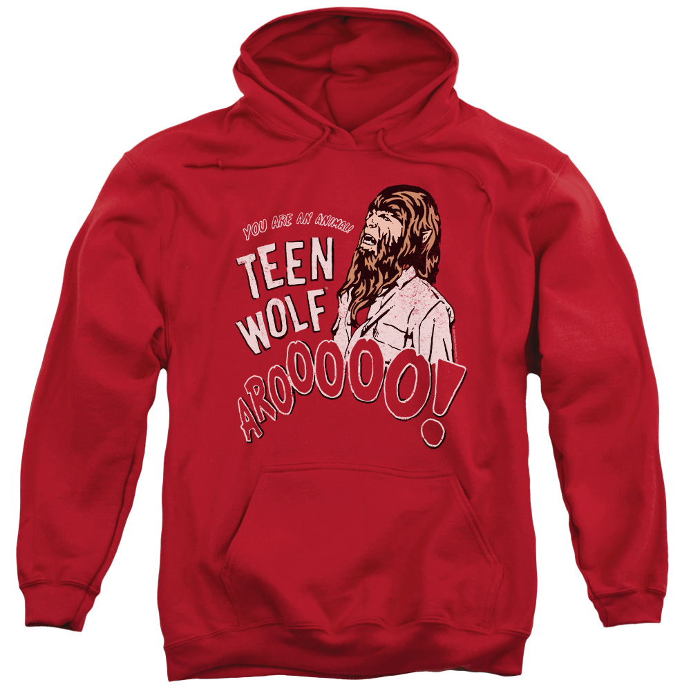 TEEN WOLF/ANIMAL - ADULT PULL-OVER HOODIE - RED - MD - Red - MD