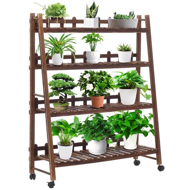 4 Tier Wooden Plant Stand Flower Bonsai Display Shelf Holder Multi Wood Shelves Multifunctional Storage Rack Bookshelf For Indoor Outdoor Yard Garden Patio Balcony Walmart Com Walmart Com