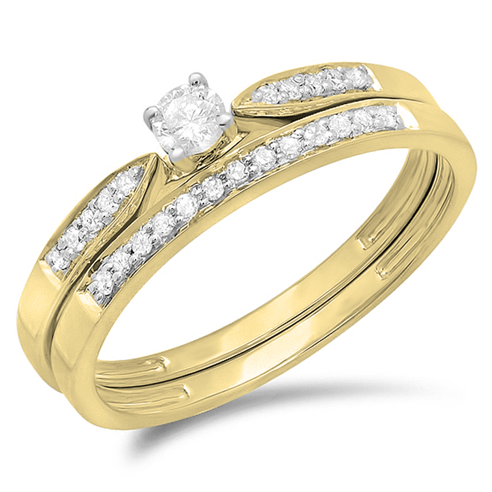 0.25 Carat (ctw) 10K Gold Round Diamond Ladies Bridal Engagement Ring Matching Band Wedding Set 1/4 CT