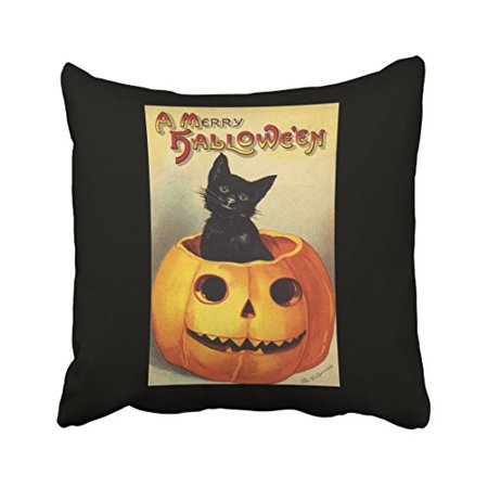 WinHome A Merry Halloween Vintage Black Cat In Pumpkin Throw Pillow Covers Cushion Cover Case 18x18 Inches Pillowcases Two - Halloween Black Cat Vintage