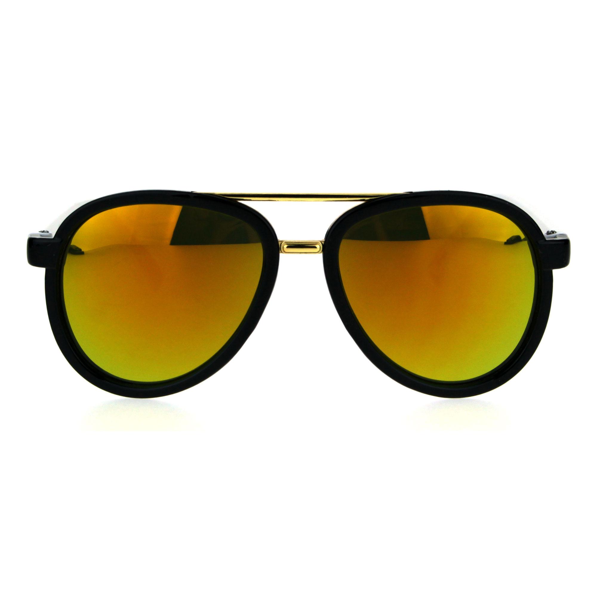 Kids Size Color Mirror Plastic Racer Aviator Sport Designer Fashion Sunglasses Black Blue