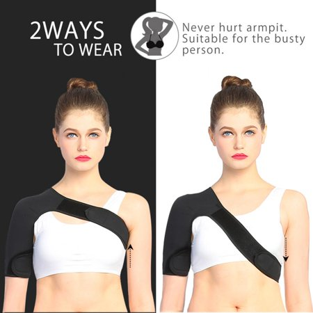 Arm Around Shoulder - HERCHR Right Shoulder Brace Adjustable Neoprene Shoulder and Arm Wrap Belt Band to Alleviate Dislocated AC Joint Pain Shoulder Compression wrap for Men and Women