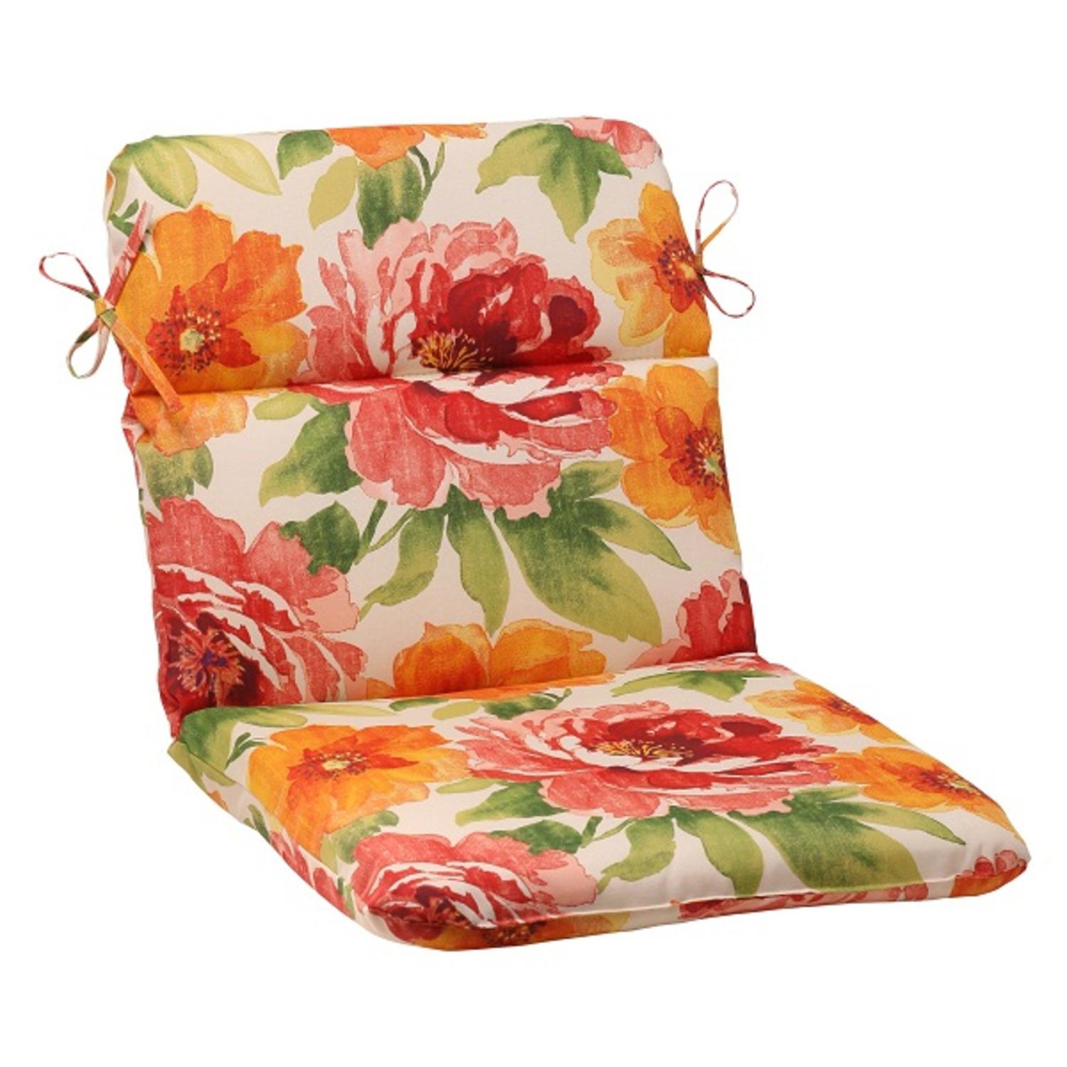 """40.5"""" White Floral Splash Outdoor Patio Rounded Chair Cushion with Ties"""