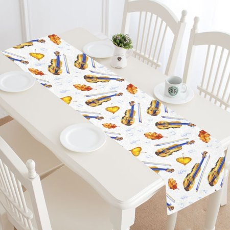 MYPOP Music Guitar Table Runner Home Decor 16x72 Inch,Bright Guitar Leaf Table Cloth Runner for Wedding Party Banquet Decoration (Guitar Table Decorations)