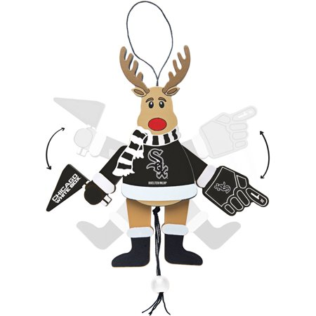 Topperscot by Boelter Brands MLB Wooden Cheering Reindeer Ornament, Chicago White Sox